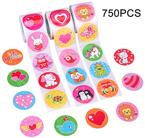 (Valentine's Day Stickers Roll - Kids Party Favors Gifts Supplies Heart Decorations 750PCS)