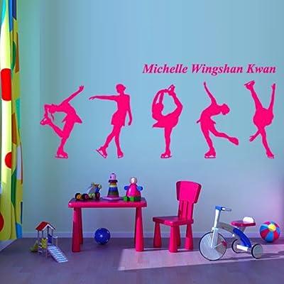 Wall Decal Vinyl Sticker Decor Design Figure Skating Skater Skates Sport Ice Michelle Kwan Competition Champion Custom Name Bedroom (M1358)