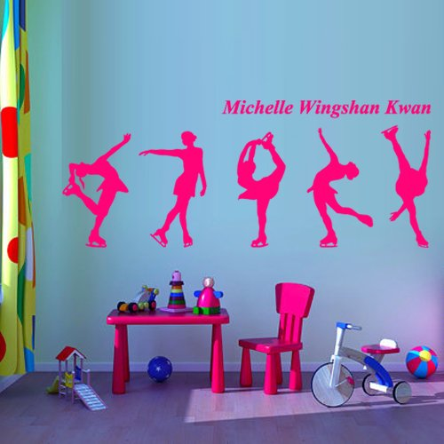 Wall Decal Vinyl Sticker Decor Design Figure Skating Skater Skates Sport Ice Michelle Kwan Competition Champion Custom Name Bedroom (M1358)