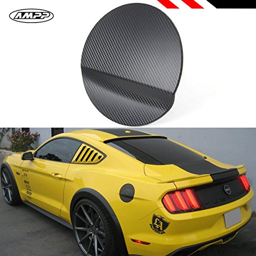 Cuztom Tuning Fits for 2015-2017 Ford Mustang Carbon Fiber 3D Texture Add-on ABS Gas Fuel Door Cover Trim Cap