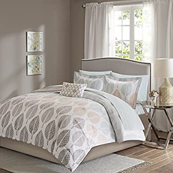 Image of 9 Piece King, Modern Coastal Leaf Pattern Comforter Set, Traditional Mid-Century Nature, Floral Design, Contemporary Casual Palette Themed, Solid Color Reverse Bedding, Beige Brown, Aqua, Grey Color