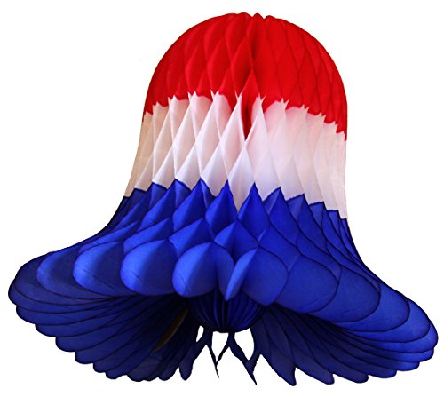 3-pack 15 Inch Honeycomb Tissue Paper Wedding Bell Party Decoration (Patriotic - Red / White / Blue)