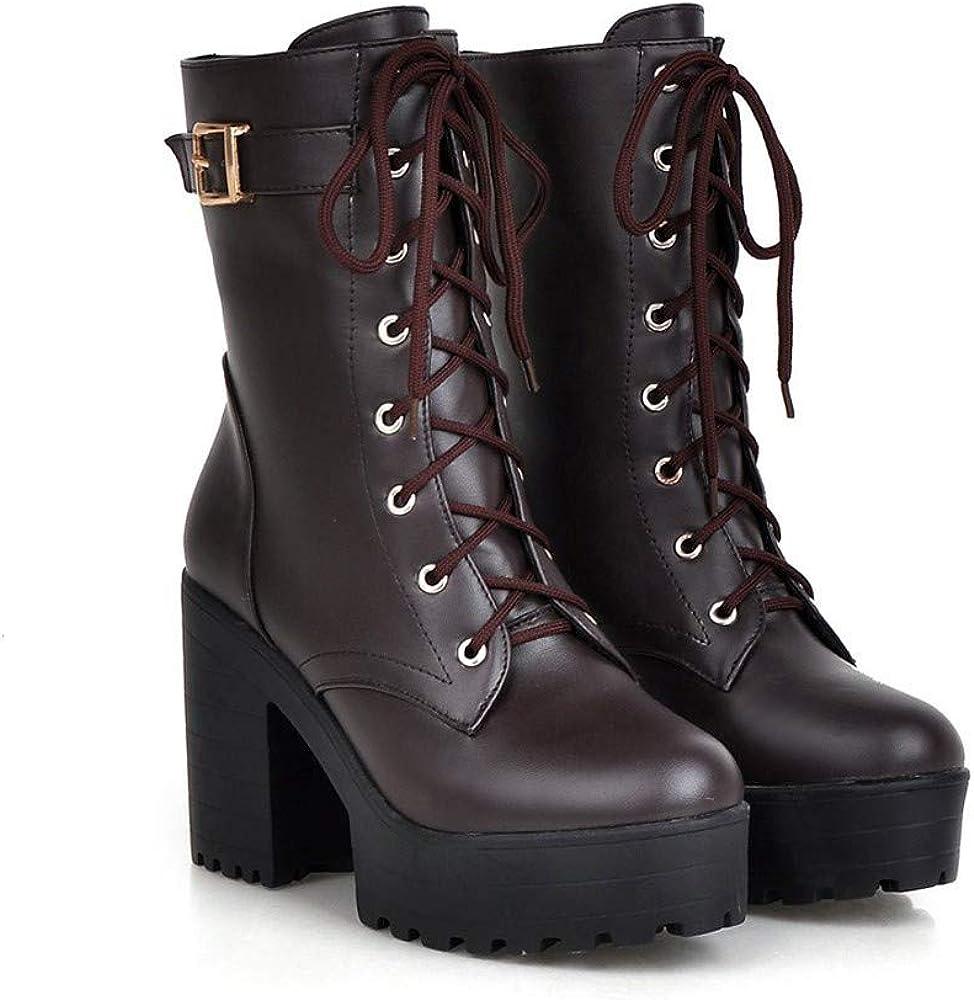 BaZhaHei Damen Schuhe Mode Dicker Absatz Booties Mittleres Rohr Hoher Absatz Stiefel Weiblich britischer Stil Dicker Boden Spitze Damen Stiefel