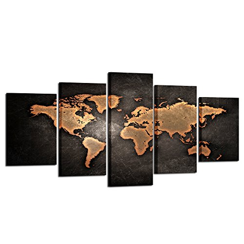 Kreative Arts - Retro World Map Poster Framed 5 Pcs Giclee Canvas Prints Vintage Abstract World Map Painting Printed on Canvas Ready to Hang for Living Room Office Decor Gift (XLarge Size 79x40inch) - Framed Giclee Art