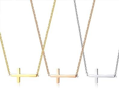 Kette Halskette Edelstahl Kommunion 3 Kreuz Anhänger Cross Necklace Roségold