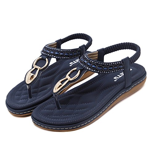 Sandales Toe Clip Sandales Bleu Lalang de Plage Sandales Herringbone Bohème Sandales Femmes 1IgA1qX