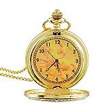 Souarts Gold Color Long Chain Numerical Round Quartz Analog Pocket Watch 83cm (Gold Color Numerical)