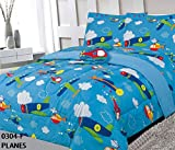 MB Home Collection Full Size 8 Pieces Printed Airplanes Helicopter Cloudy Sky Multicolor Design Comforter Comforter, Sheet Set with 1 Pillow Cushion Toy # 8 Pcs Planes
