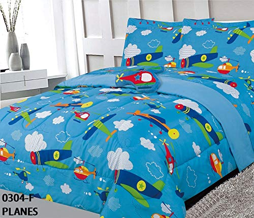 MB Home Collection Twin Size 6 Pieces Printed Airplanes Helicopter Cloudy Sky Multicolor Design Comforter Comforter, Sheet Set with 1 Pillow Cushion Toy # 6 Pcs Planes