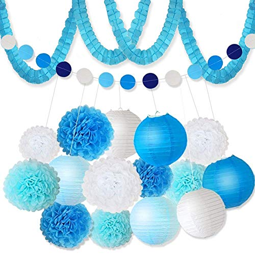 XFunino 18 Pcs Tissue Paper Flowers Pom Poms Decorations Theme Paper Lanterns Polka Dot Four Leaf Hanging Paper Garland 11.8ft for Baby Shower Wedding Birthday Party Supply, Blue