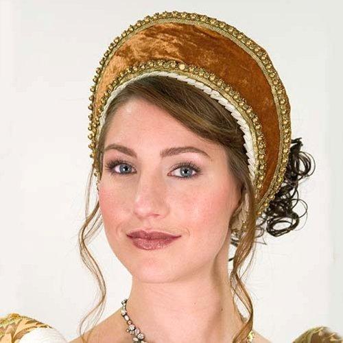 French Tudor Hood Womens Renaissance Head Piece Gold - French Hood Hat