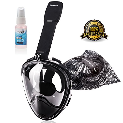 Snorkeling Snorkel Gear for Easy Breathing & Unobstructed View Dry Snorkel Mask for Adults, Kids with GoPro Attachment (Color/Size) (Large)