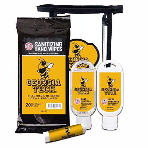(Worthy Promotional NCAA Georgia Tech 4-Piece Premium Gift Set with SPF 15 Lip Balm, Sanitizer, Wipes, Sunscreen)