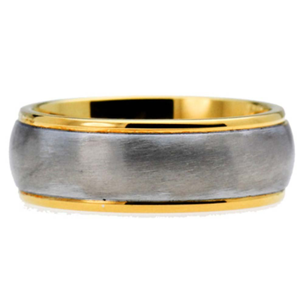 8mm Titanium Band Golden EP Brushed Dome Top Dual Colored Wedding Engagement Ring TKJ