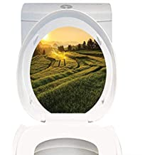 Waterproof self-Adhesive Farm House Decor Barley Field Sunset at Samoeng Chiang Mai Thailand Asian Nature Countryside Picture Green Yellow. Toilet Seat Vinyl Art Stickers W13 x L16