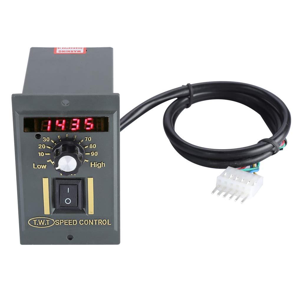 120V Motor Speed Controller AC Electric Speed Regulator Switch Adjustable Stepless Motor Speed Governor LED Display Knob 220V 15W-400W Black