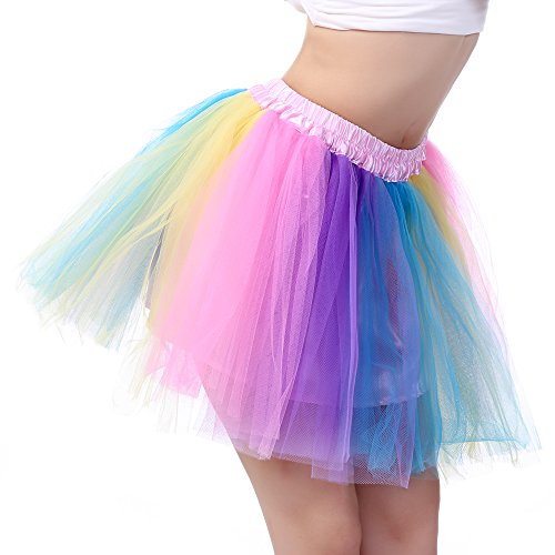 Anleolife 14-15 inch Kids Girl Tutu Skirts Dance Tutus (blue orange pink purple wispy)