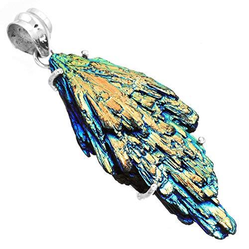 (Rainbow Aura Kyanite Women Jewelry Solid 925 Sterling Silver)