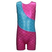 Colorful Ribbons Mermaid Rainbow Gymnastics Biketard Shortall for Little Girl