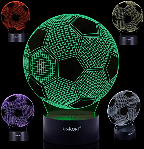 3D Soccer Lamp, Soccer Gifts for Boys and Girls, Soccer Goal LED Night Light Perfect Birthday Gift, Sports Lamp Decor, Helps Kids Sleep Better with a Glow Light, 8 Modes Color (6.5FT USB Cord) ()