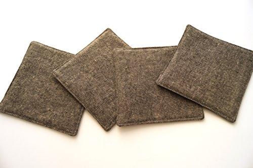 Classics Textured Charcoal (Charcoal Grey Linen Fabric Coasters Set)