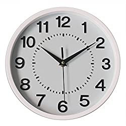 Graceful Silent Wall Clock, 10 White Non-ticking 3D Numbers Dial Decor Wall Clock with Battery Operated and Round Easy to Read for Home/School/Hotel