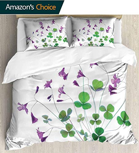 (Flower Home Duvet Cover Set,Springtime Garden Wildflowers and Clovers Modern Floral Theme Graphic Print Print Quilt Cover Set White Queen Pattern Bedding Collection 80
