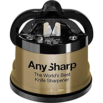 AnySharp Knife Sharpener, LTD Edition Gold, The World's Best As Seen on QVC, Original Patented Tungsten Carbide Pro Sharpening Stone Blades