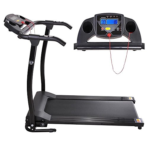 Globe House Products GHP 1100W Black PVC Running Belt Folding Exercise Treadmill with 3 Built In Programs