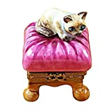 CAT ON PINK PILLOW - LIMOGES PORCELAIN FIGURINE BOXES AUTHENTIC IMPORTS