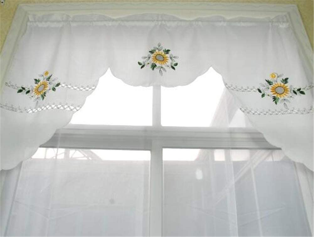 Gxi Scalloped White Curtain Valance Swag For Bathroom Sunflower Cotton Kitchen Curtain Embroidered Rod Pocket Cafe Curtain Light Filtering Window Curtain Swag For Dining Room 1 Panel W59 X L35 Inch