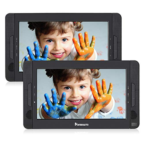 NAVISKAUTO 10.5 Portable Car DVD Player Dual Screen, Headrest Video Player with 5-Hour Built-in Rechargeable Battery, Last Memory and Region Free