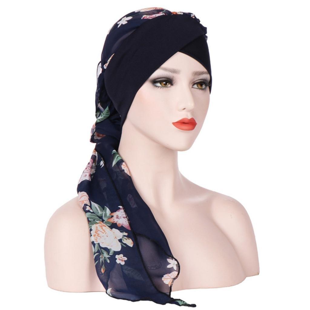 Longra Femmes Musulman Étendue Turban Imprimé Chapeau chimiothérapie Chapeau Musulman Turban Bandeau Cheveux pour Femme Chapeau Coton Mousseline de Soie Tête Écharpe Chapeau Mode