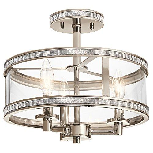 Kichler Angelica 13-in W Polished Nickel Clear Glass Semi-Flush Mount (Kichler Nickel Ceiling Light)