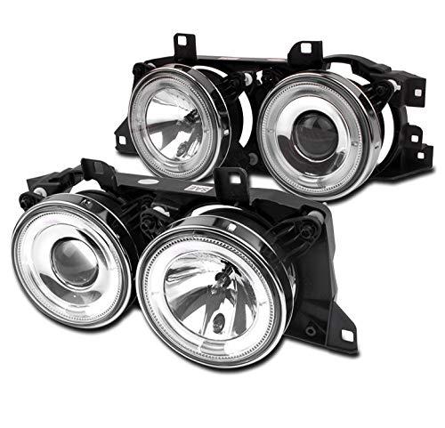 ZMAUTOPARTS BMW E34/ E32/ M5 Halo Projector Headlight Chrome Left+Right Pair
