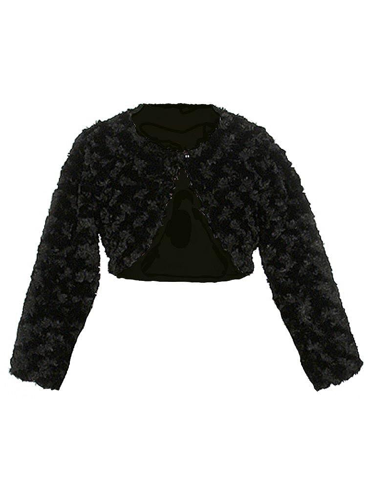 Faux Fur Long Sleeve Bolero Jacket Shrug Pink White Ivory Black Infant to Girls