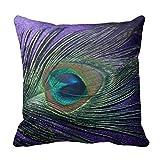 Silky Purple Peacock Feather Still Life Throw Pillow Case Decor Cushion Cover18