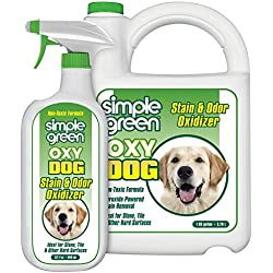 SIMPLE GREEN Oxy Dog Stain & Odor Oxidizer - Peroxide Cleaner for Urine, Feces, Vomit, Drool (32 oz Hose End Sprayer & 1 Gallon Refill)