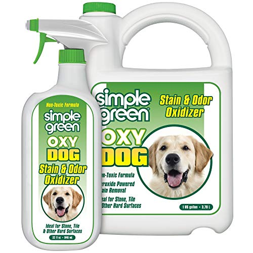 Oxy Dog Stain & Odor Oxidizer - Peroxide Cleaner for Urine, Feces, Vomit, Drool (32 oz Hose End Sprayer & 1 gallon Refill)