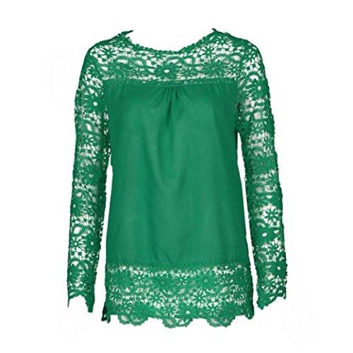 en nbsp; Dentelle Chemise che Casual Coton Femmes T Xinantime Blouse Manches pour Vert Shirt en L Tops Chemise Longues Femme Fashion f7qxBP