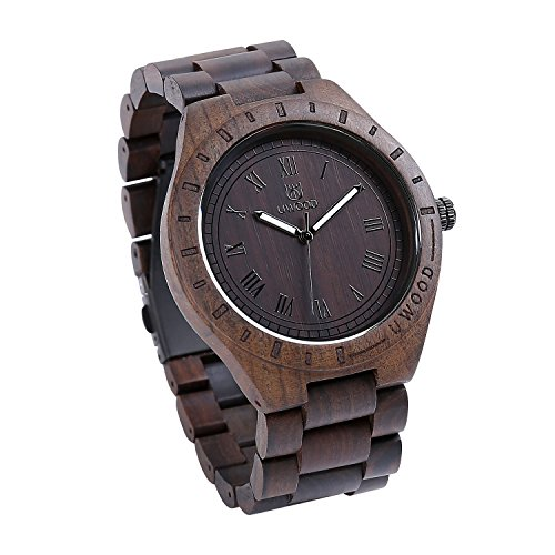 Wrist Watch Men, Ebony Wood Wrist Band Roman Scale Wooden Watch (Black)