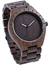 Wrist Watch Men, Ebony Wood Wrist Band Roman Scale Wooden...
