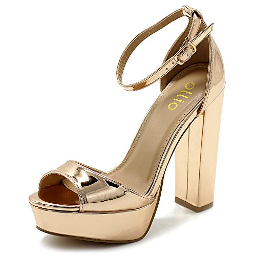 f782f0f79 Ollio Women s Shoes Simple Platform Ankle Strap Chunky High Heeled Sandals