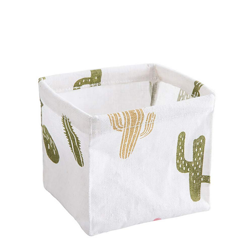 Desktop Storage Basket or Bin, Further Reductions! E-Scenery Linen Foldable Storage Cube Containers Organizers for Home Makeup, Small Items, Toys, Office, Stationery, 5 x 5 x 4 inches (White)