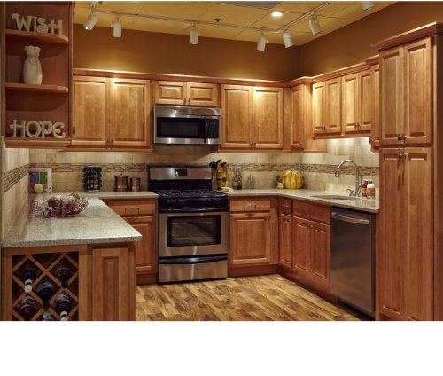 Honey Maple Wall Cabinet (All Wood 10x10 Kitchen Cabinets Maple Honey Natural)