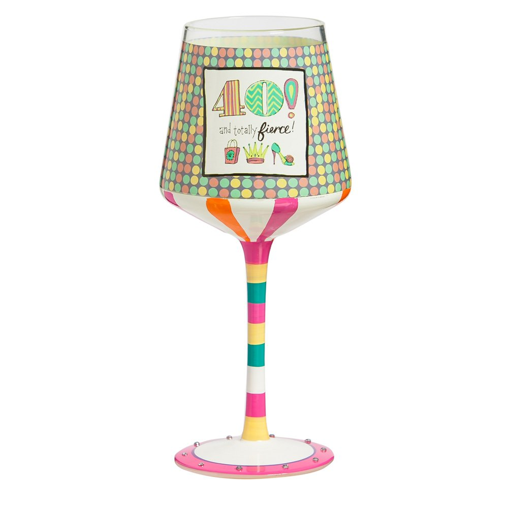 """Cypress Home 40th Birthday 12 oz Hand-Painted Stemmed Wine Glass - 3.75""""W x 3.75'' D x 7.5'' H"""