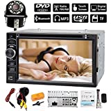 Double 2 DIN Car Stereo With Bluetooth Backup Camera - 6.2 Inch Touch-Screen HD DVD Player/CD Player/Audio Video/USB SD Card Slot (2018 Newest)