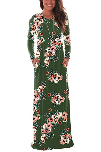 DawnRaid Women's Jersey Knit Maxi Dress Long Sleeve Fall Party Dress with Pockets Plus Size XL