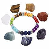 SUNYIK 7 Chakra Stones Set,Natural Rough Raw Crystal Healing Kits,with 7 Color Chakra Stone Bracelet