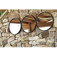 Ashley Furniture Signature Design - Ohanko Triple Circle Metal Wall Mirror - Vertical or Horizontal - Contemporary - Black
